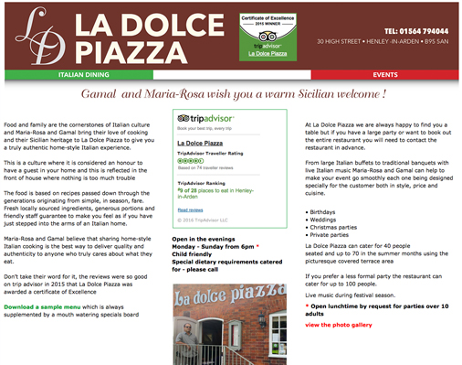 La Dolce Piazza website - please click to see full site