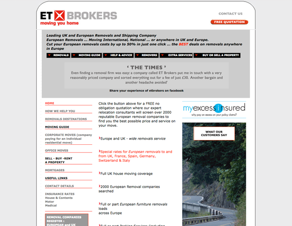 ET Brokers website - please click to see full site