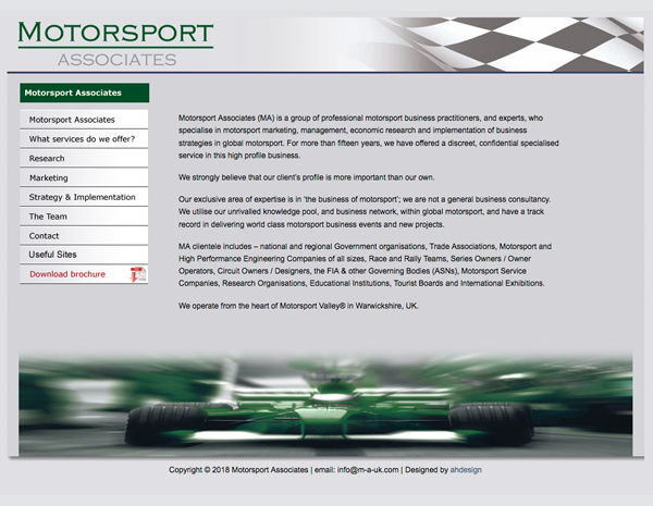 Motorsport Associates (MA) website - please click to see full site